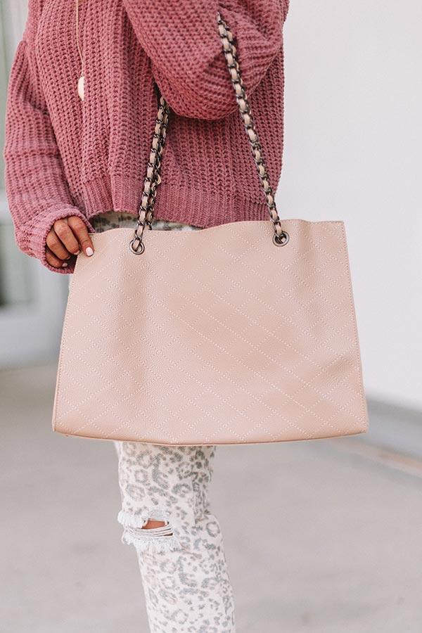 Chic Success Faux Leather Tote In Iced Latte