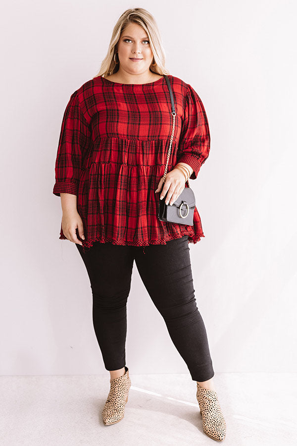 Fall Farmer's Market Babydoll Top in Red
