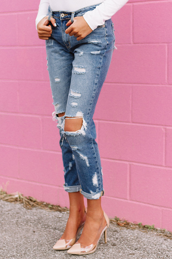 The Tessa High Waist Distressed Girlfriend Jean In Medium Wash