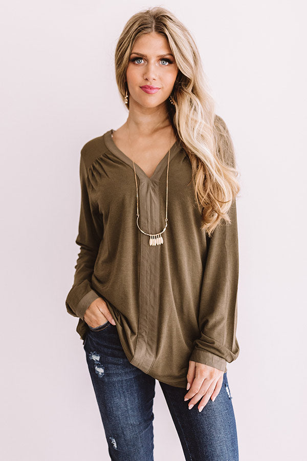 For Love and Lattes Shift Top in Martini Olive