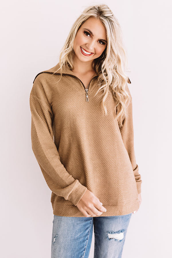 Kiss Me S'More Waffle Knit Pullover
