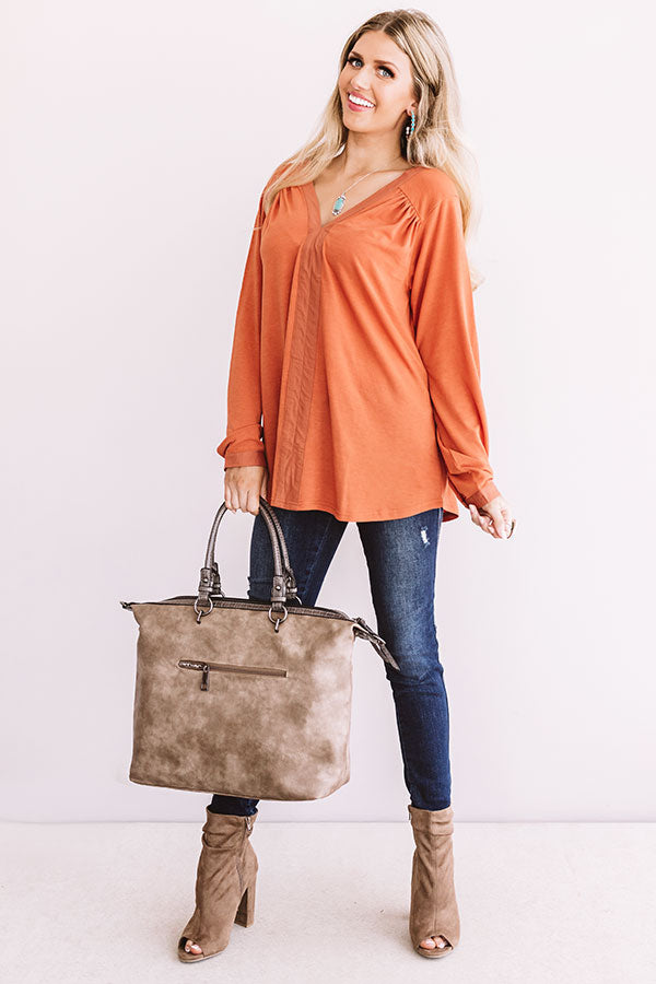 For Love and Lattes Shift Top in Pumpkin