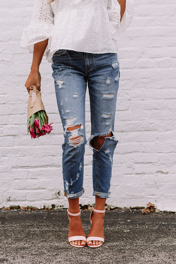 The Tessa High Waist Distressed Girlfriend Jean In Dark Wash