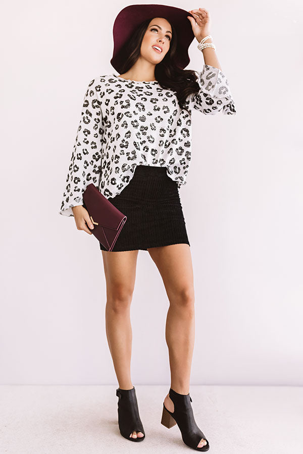 Iced Mocha Moment Leopard Shift Top In Grey