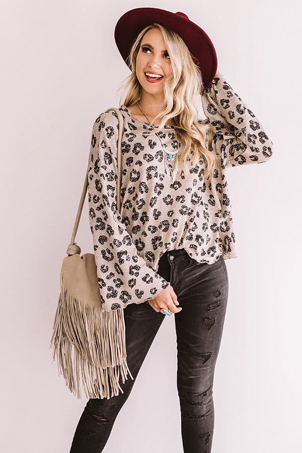 Iced Mocha Moment Leopard Shift Top In Taupe