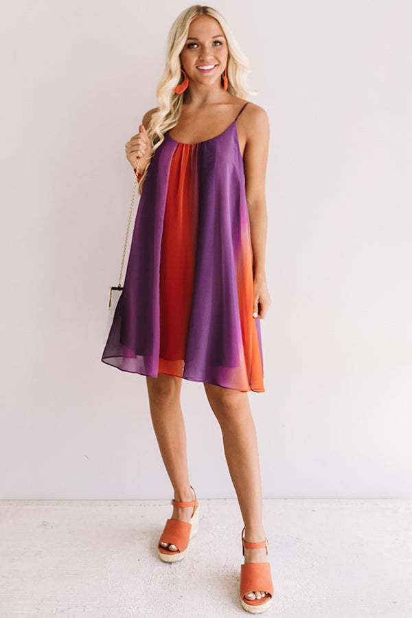 Spirit Squad Ombre Shift Dress in Orange/Purple