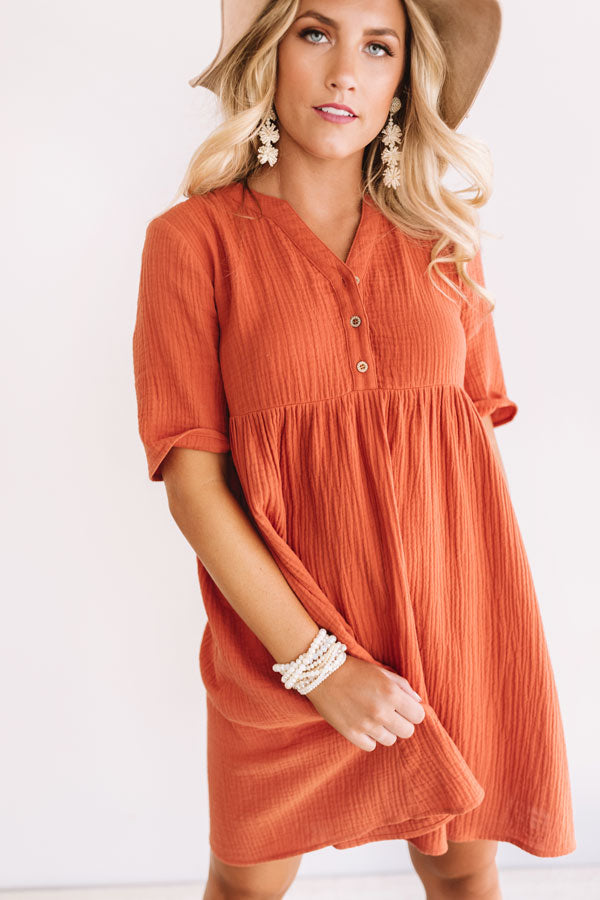 Southern Saturday Babydoll Dress in Pumpkin