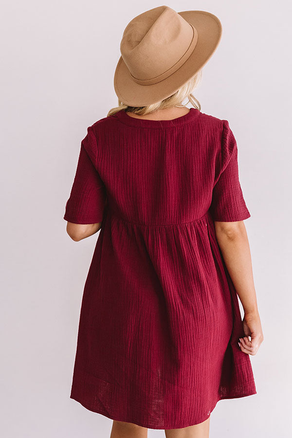 Southern Saturday Babydoll Dress in Maroon