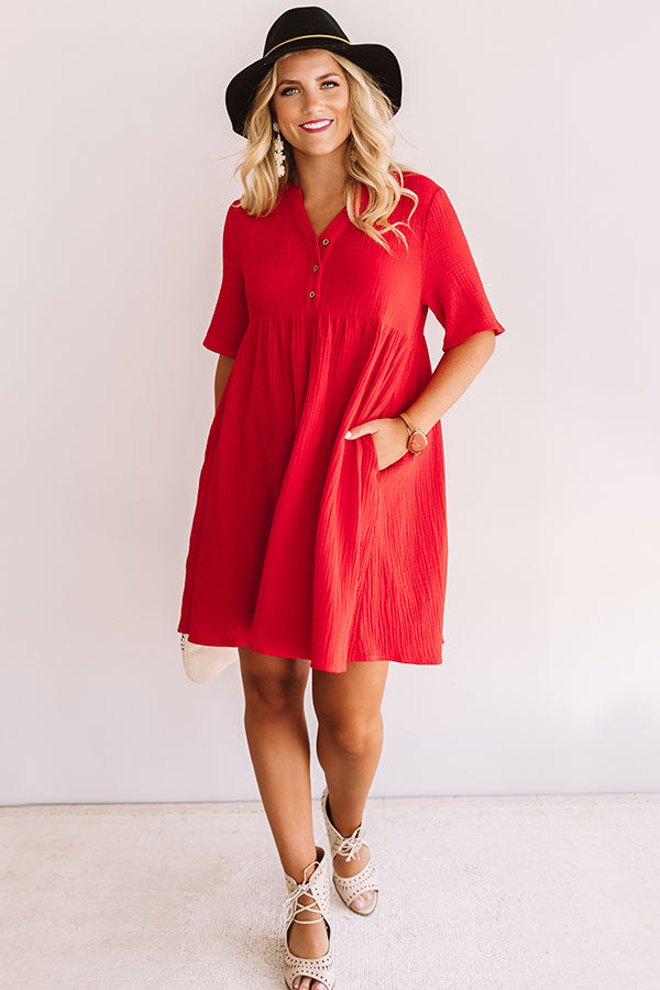 Southern Saturday Babydoll Dress in Red