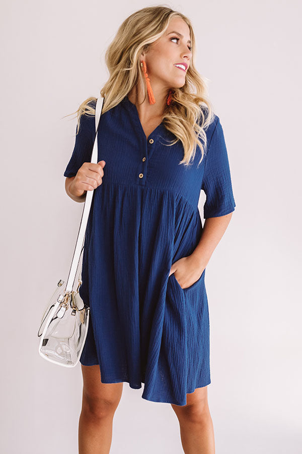 Southern Saturday Babydoll Dress in Navy