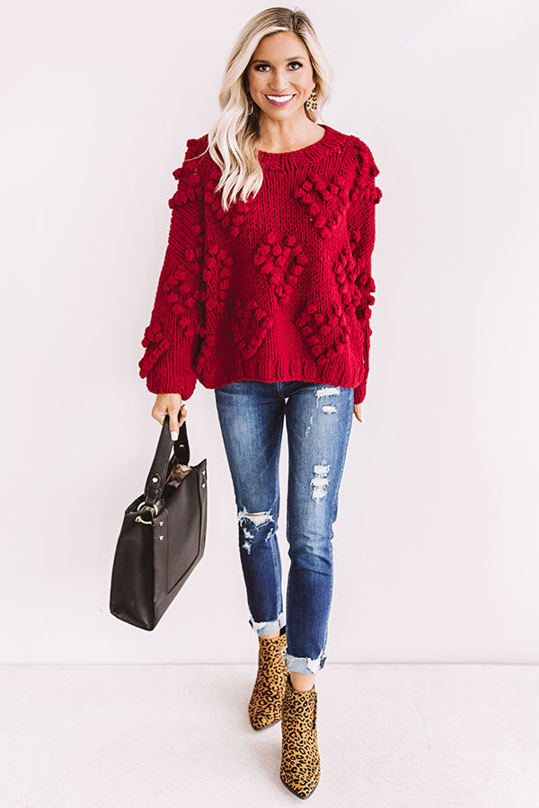 Lover Of Life Hand-Knit Sweater In Red