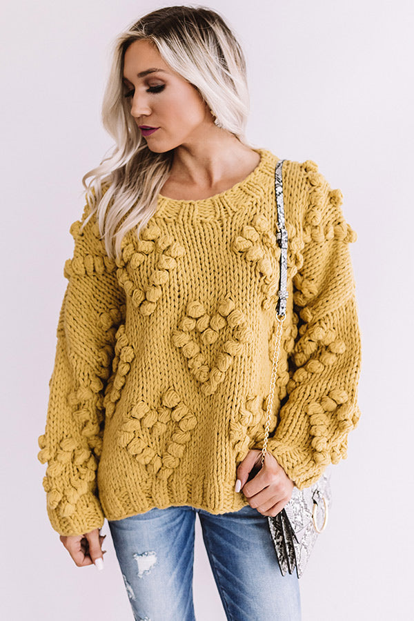 Lover Of Life Hand-Knit Sweater In Mustard
