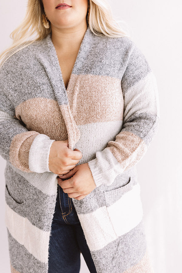 Bundled Up In Brooklyn Color Block Cardigan In Dark Grey