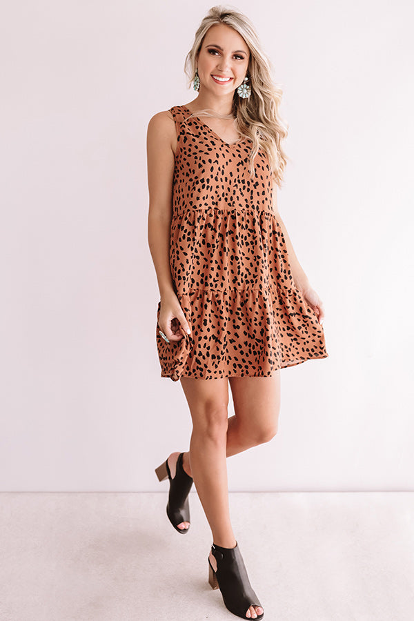 Chic Success Leopard Babydoll Dress In Brown