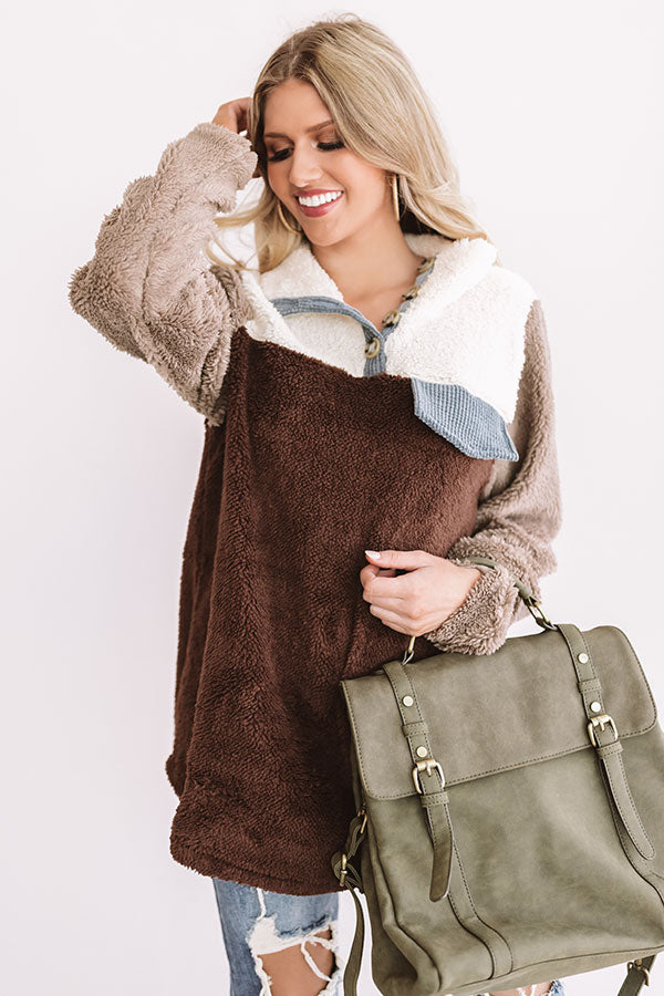 Bundled For The Bonfire Sherpa Pullover In Brown
