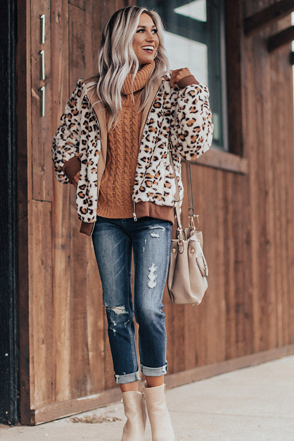 Covered In Cozy Plush Leopard Jacket In Ivory
