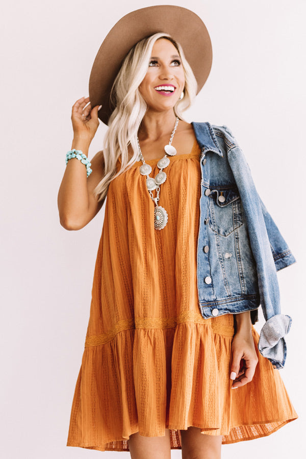 Brooklyn Happy Hour Shift Dress In Pumpkin