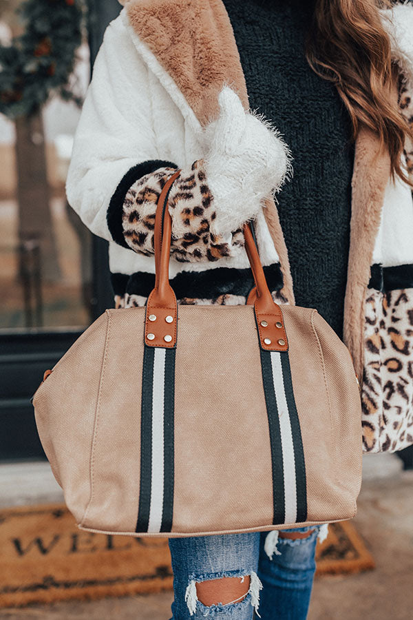 Tribeca Travels Faux Leather Tote in Warm Taupe
