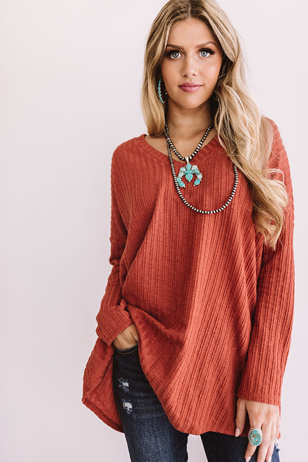 True Wanderlust Ribbed Shift Top In Rust