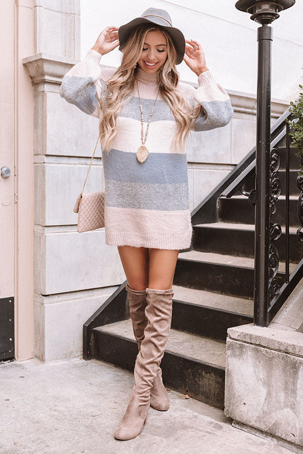 It's All For Fall Stripe Tunic Dress In Light Latte