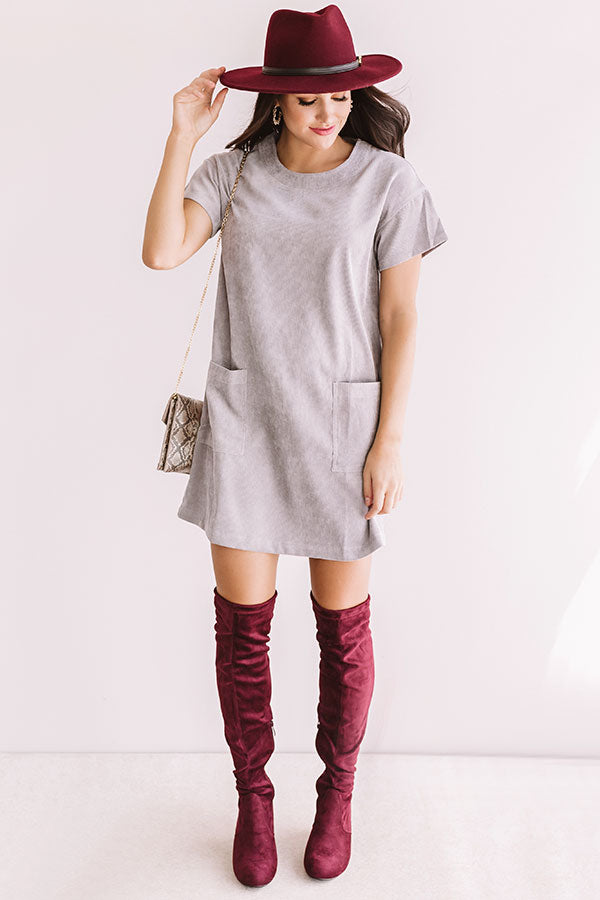 Thankful And Grateful Shift Dress In Grey