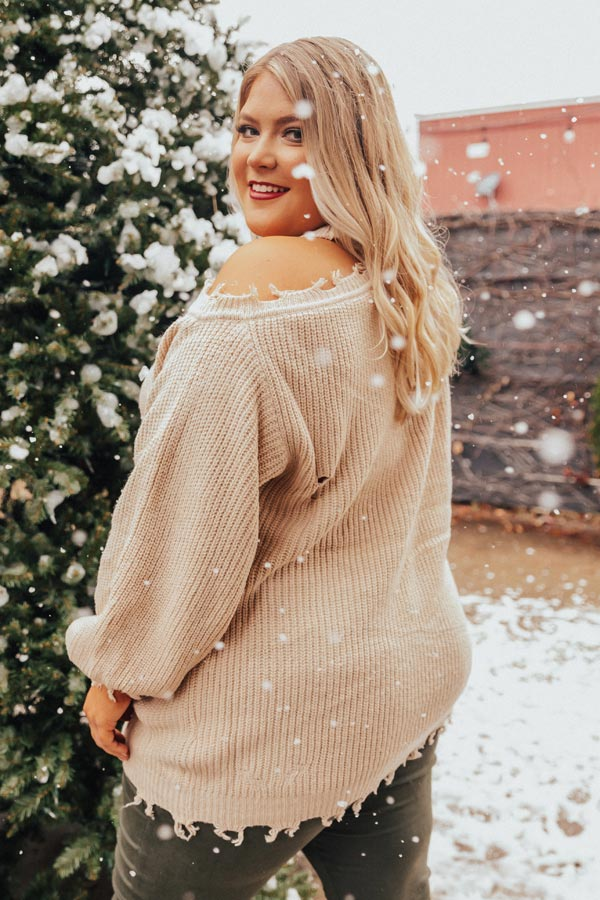 Feels Like Fall Distressed Sweater Iced Latte