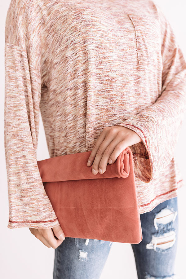 Brooklyn Happy Hour Faux Suede Clutch In Pink