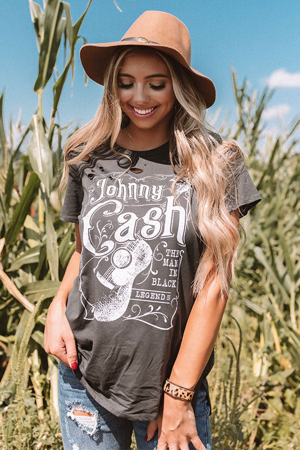 Johnny Cash Distressed Boyfriend Tee In Black