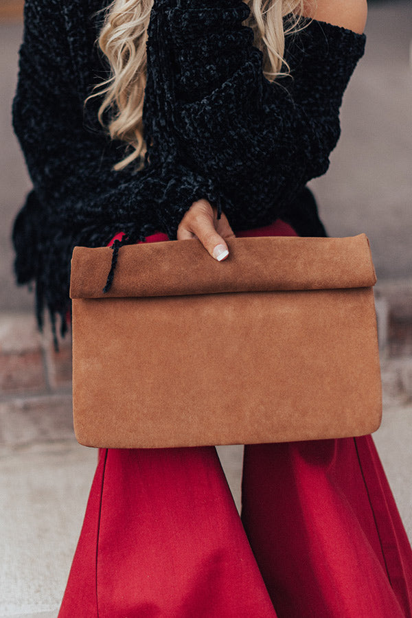 Brooklyn Happy Hour Faux Suede Clutch In Brown