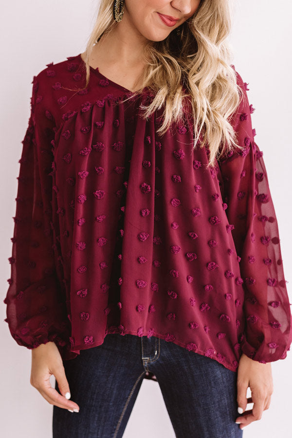Spot On Babydoll Top In Wine