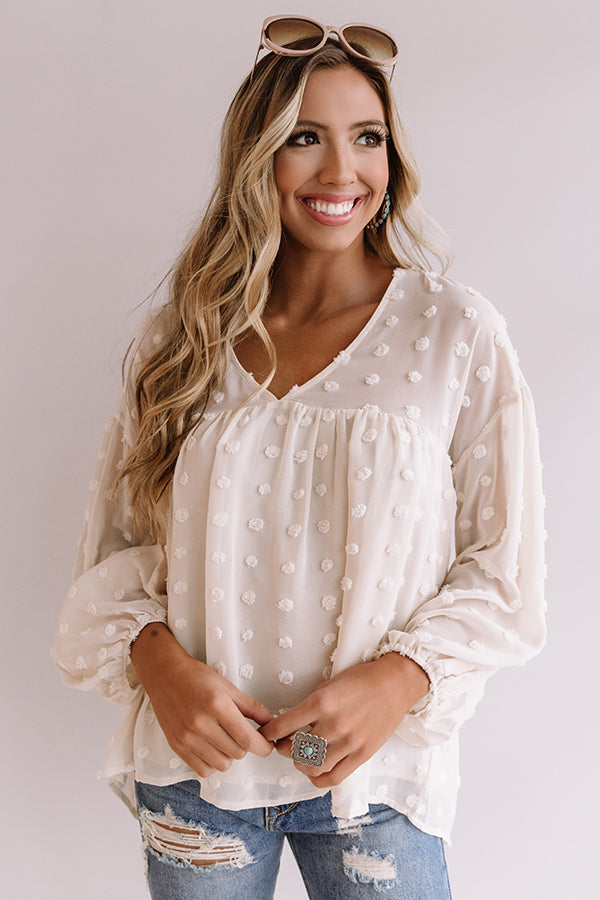 Spot On Babydoll Top In Cream