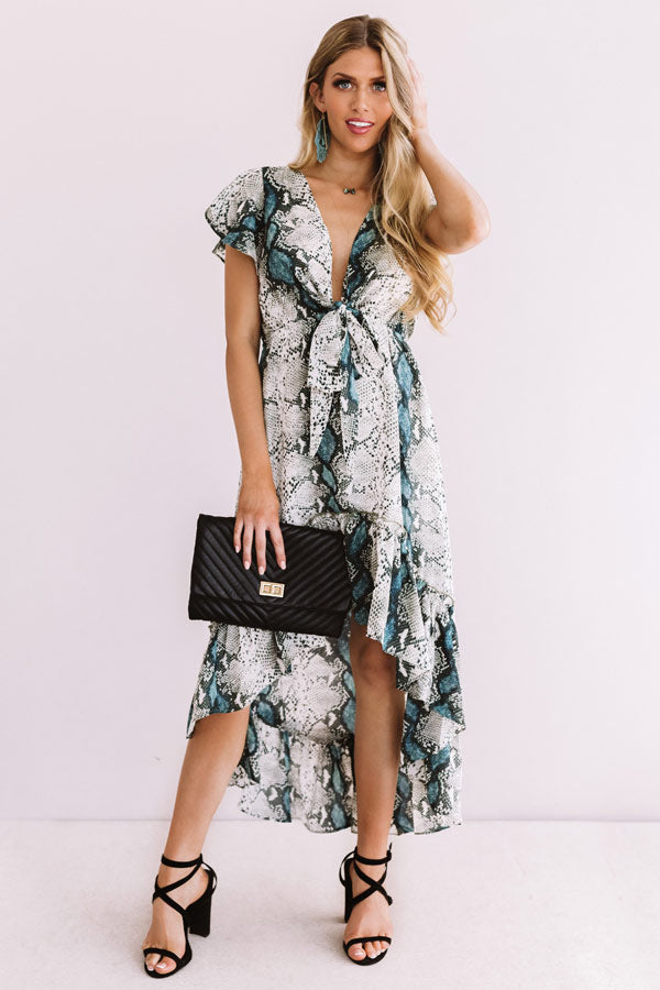 Cider In Aspen Ruffle Dress in Snake Print