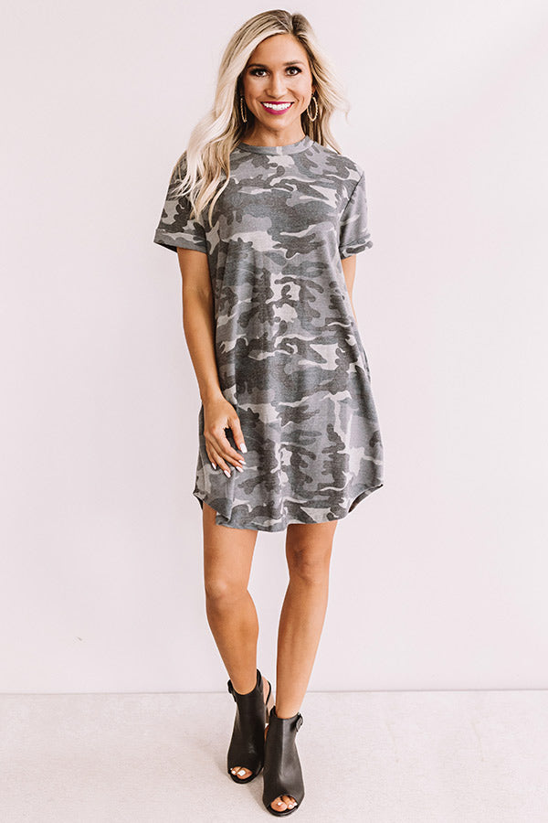 Well Traveled Camo T-shirt Dress In Grey