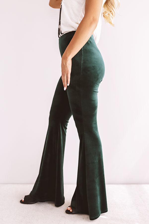 The Stassi High Waist Velvet Flares In Forest