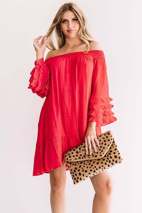 Sweet Sippin' Shift Dress In Red
