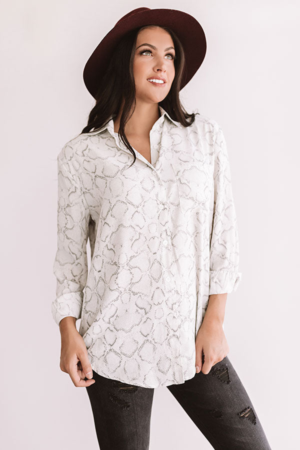 Cider In Aspen Button Up Top In Grey