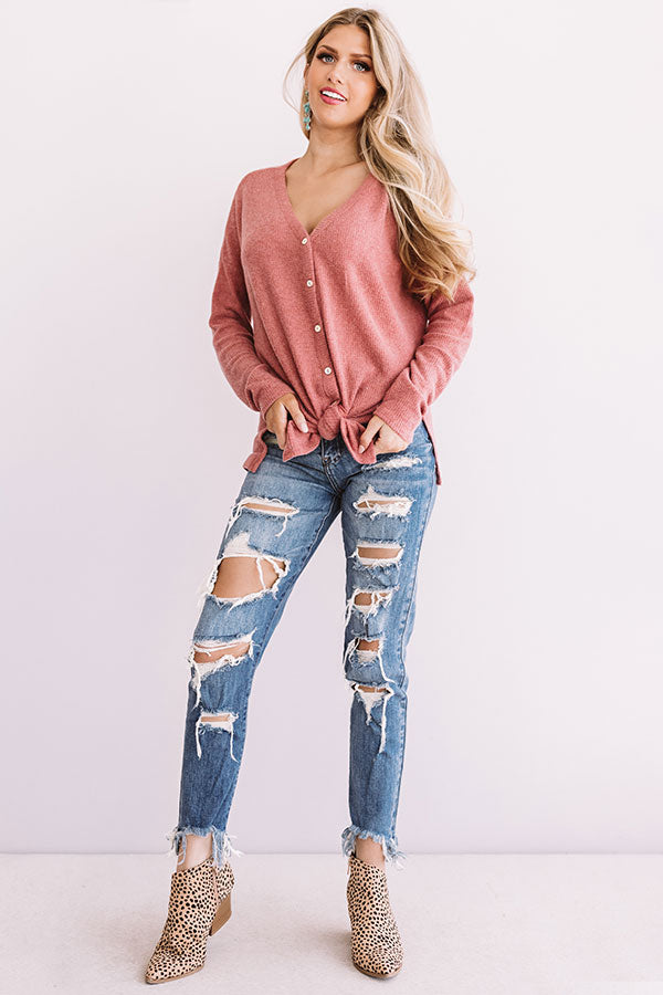 Set Me Free Waffle Knit Top In Rose