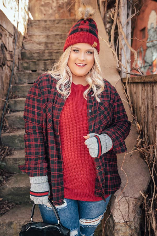 Bonfire Babe Flannel In Red