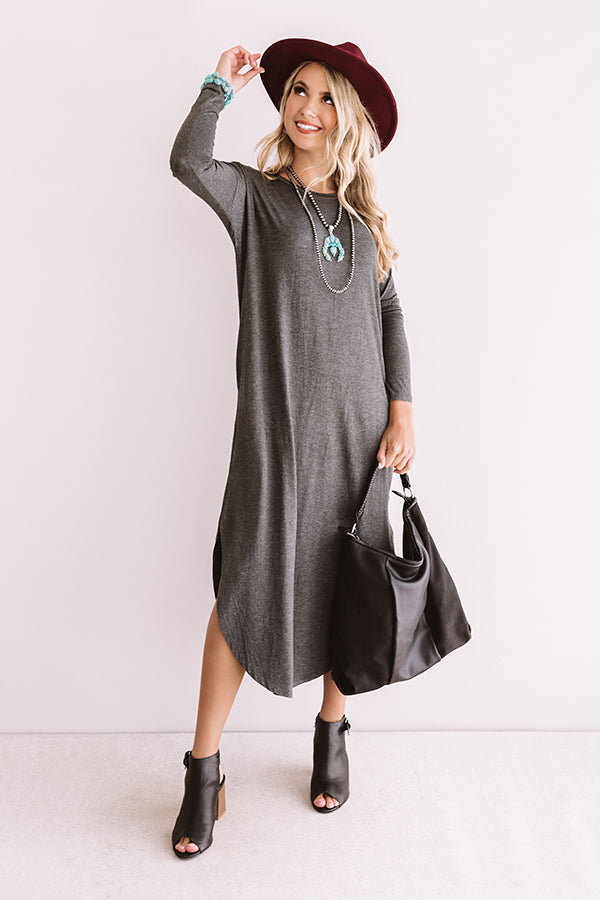 Fall Fashion Forward T-shirt Midi in Charcoal