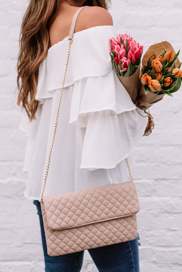 Trendy In The City Clutch In Latte