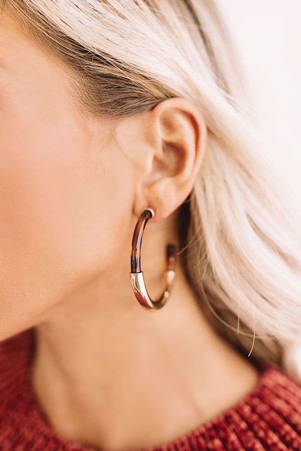 Cider In Aspen Tortoiseshell Hoop Earrings