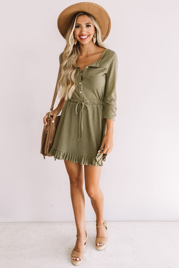 Autumn's Kiss Waffle Knit Dress in Sage