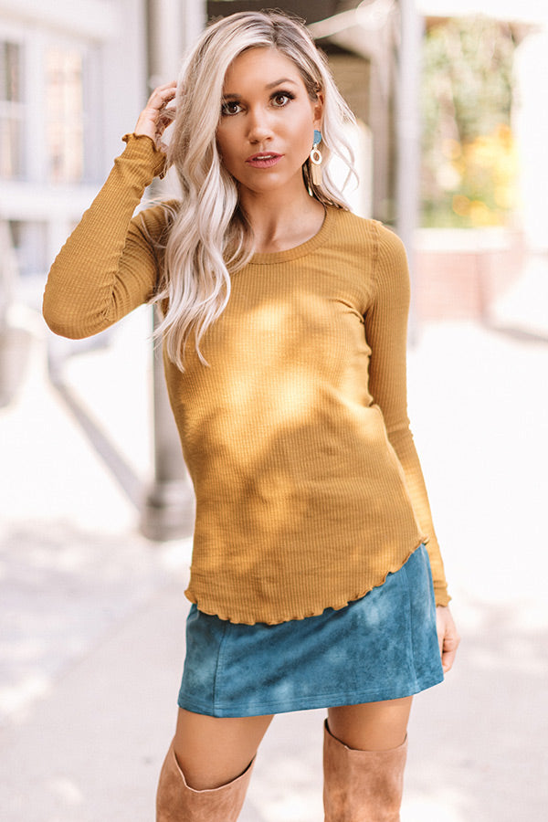 Windy City Night's Ribbed Top In Mustard