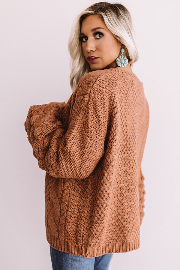 In The Knit Of Time Cardigan In Rustic Rose