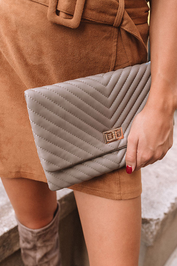 Delicate Details Faux Leather Clutch In Taupe