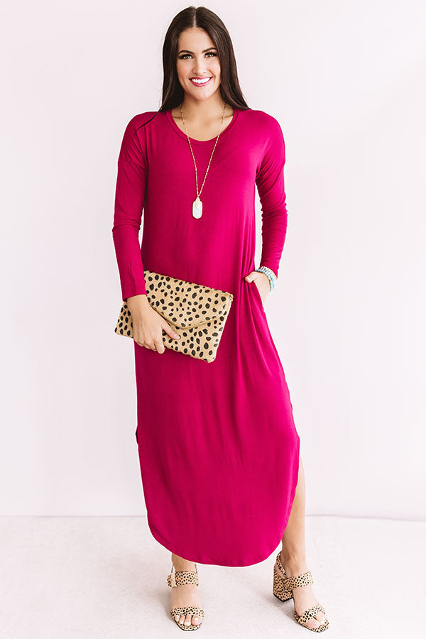 Fall Fashion Forward T-shirt Midi in Dark Rose