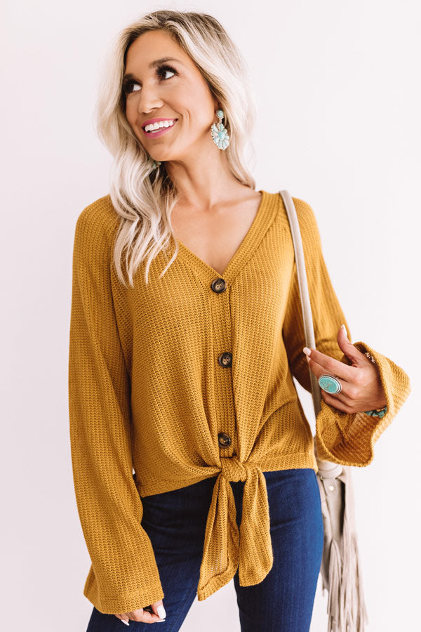 A Wonderful Life Knit Tie Top In Mustard