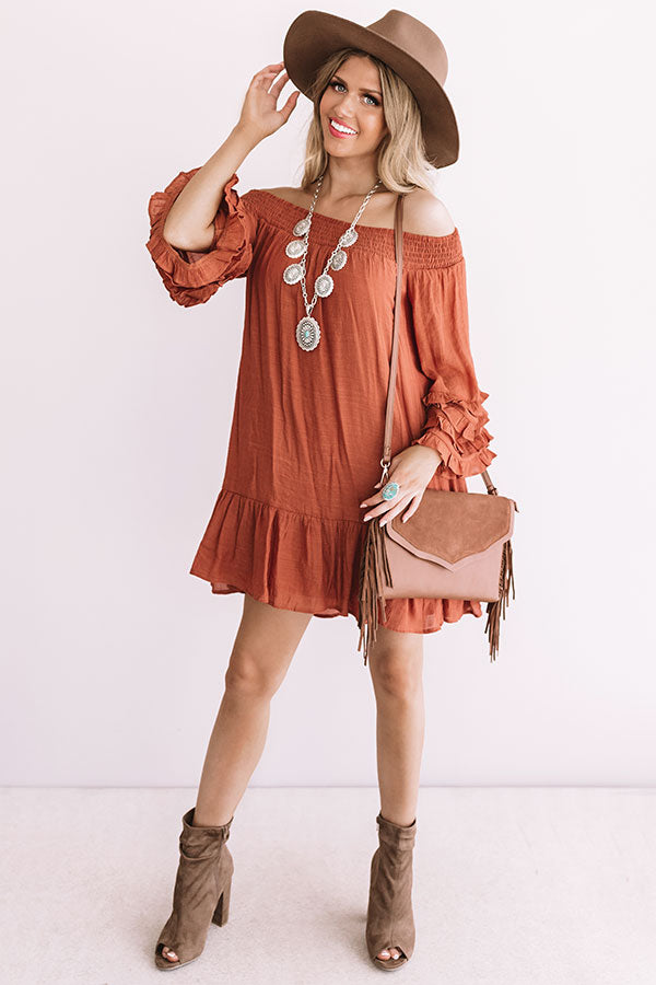 Sweet Sippin' Shift Dress In Rust