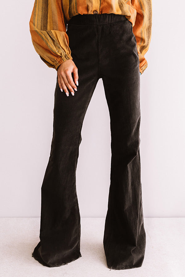 Show Me Off High Waist Flares In Black