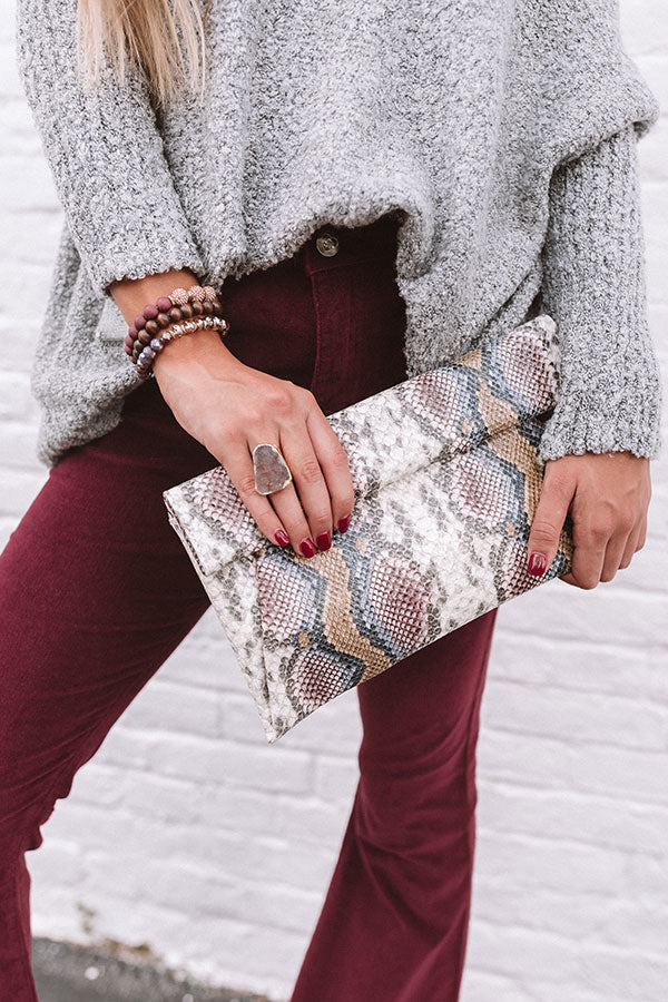 Cue The Casual Snake Print Clutch
